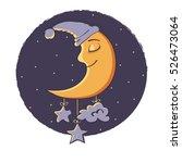 illustration a sleeping moon.... | Shutterstock .eps vector #526473064