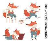 vector cartoon fox set.... | Shutterstock .eps vector #526474780