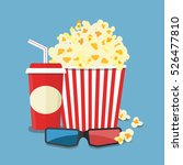 popcorn and drink. film strip... | Shutterstock .eps vector #526477810