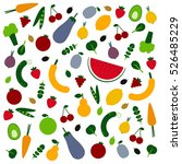 amazing fruits and veggies flat ...   Shutterstock .eps vector #526485229