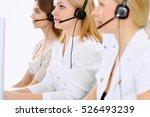 call center. focus on beautiful ... | Shutterstock . vector #526493239