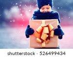 happy kid with big gift box... | Shutterstock . vector #526499434