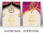 indian wedding card  gold and... | Shutterstock .eps vector #526501036