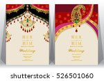 indian wedding card  gold and... | Shutterstock .eps vector #526501060