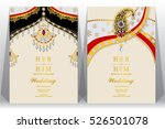 indian wedding card  gold and... | Shutterstock .eps vector #526501078