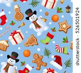 vector christmas seamless... | Shutterstock .eps vector #526501924