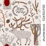 christmas card with deer and... | Shutterstock .eps vector #526501930