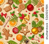 vector christmas seamless... | Shutterstock .eps vector #526501984