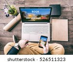 man using a laptop and... | Shutterstock . vector #526511323