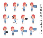 set of smart and cute character ... | Shutterstock .eps vector #526513978