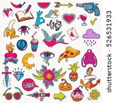 big vector set of cute funny... | Shutterstock .eps vector #526531933