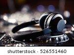 club dj headphones on cd...   Shutterstock . vector #526551460