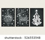 collection of three handdrawn... | Shutterstock .eps vector #526553548