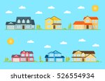 neighborhood with homes... | Shutterstock .eps vector #526554934