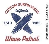 vintage surfing tee design.... | Shutterstock .eps vector #526555750