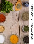 various spices and herbs on a... | Shutterstock . vector #526559338