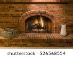Gas Fireplace With Brick...