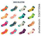 colorful socks big set in flat...   Shutterstock .eps vector #526573366