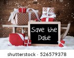 sleigh with gifts  snow ... | Shutterstock . vector #526579378