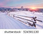 Winter Country Landscape With...