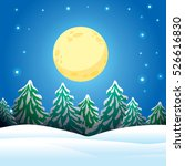 winter night in the forest.... | Shutterstock .eps vector #526616830