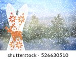 christmas background with ski | Shutterstock . vector #526630510