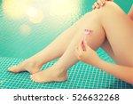 woman shaving legs | Shutterstock . vector #526632268