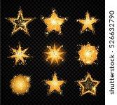 gold glittering stars set... | Shutterstock .eps vector #526632790