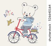 Stock vector cute little bear riding a bicycle cartoon hand drawn vector illustration can be used for baby t 526640164
