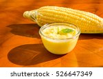 fresh corn cream soup food on... | Shutterstock . vector #526647349