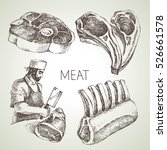 hand drawn sketch meat products ... | Shutterstock .eps vector #526661578