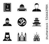 religion icons set. simple... | Shutterstock .eps vector #526663984
