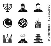 beliefs icons set. simple... | Shutterstock .eps vector #526663990