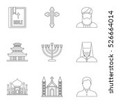 religion icons set. outline... | Shutterstock .eps vector #526664014