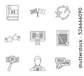 translation icons set. outline... | Shutterstock .eps vector #526666090
