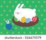 easter bunny sitting on eggs | Shutterstock .eps vector #526675579