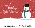 christmas card with snowman... | Shutterstock .eps vector #526696420