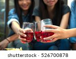 many women are drinking at a... | Shutterstock . vector #526700878