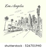 los angeles city scene hand... | Shutterstock .eps vector #526701940
