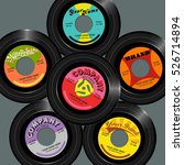 retro style 45 record label... | Shutterstock .eps vector #526714894
