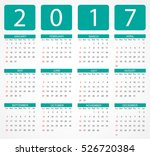 calendar for 2017 year.week... | Shutterstock .eps vector #526720384