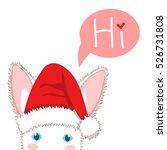 white rabbit with santa hat... | Shutterstock .eps vector #526731808