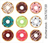 collection of glazed colored... | Shutterstock .eps vector #526732720