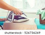 closeup of woman ironing... | Shutterstock . vector #526736269
