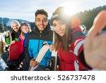 group of people ski snowboard... | Shutterstock . vector #526737478