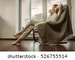 Woman Relax On Vintage Sofa At...