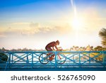 man riding mountain bike on... | Shutterstock . vector #526765090