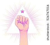 human hand raised up over... | Shutterstock .eps vector #526767016