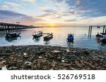 Sunrise Rocky Shore With...