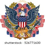 american eagle and flag  | Shutterstock .eps vector #526771630